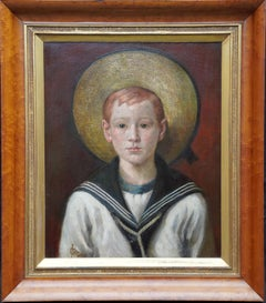 Portrait of a Sailor Boy - British 1900 art nautical male portrait oil painting