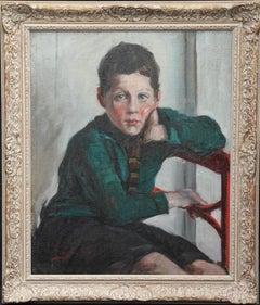 Portrait of a School Boy - British Post Impressionist male portrait oil painting