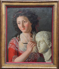Portrait of a Sculptress at Work - Italian 18thC Old Master art oil painting
