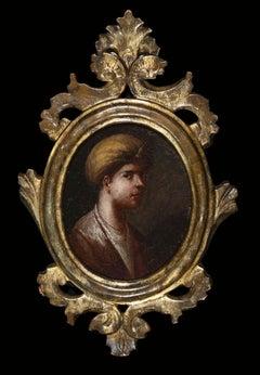 Portrait of a Sultan Page with Turban - Original Oil on Board - 18th Century