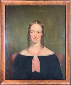 Portrait of a Young Lady, Oil on Canvas, 1840's, In Style of Jacob Eichholtz
