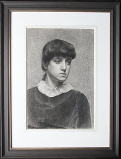 Portrait of a Young Woman - Pre-Raphaelite Victorian drawing girl white collar