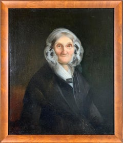 Portrait of an Elderly Lady, Oil on Canvas, 1840's, In Style of Jacob Eichholtz