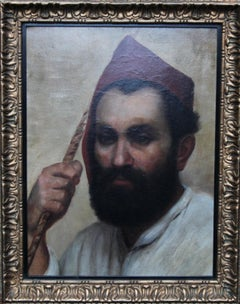 Portrait of an Oriental Man - Arab Head - 19thC Orientalist art oil painting