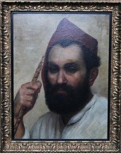 Portrait of an Oriental Man - Arab Head - 19thC Orientalist art oil painting