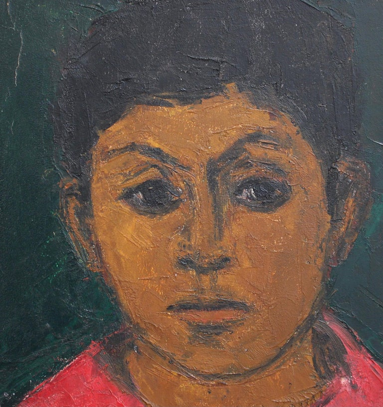 'Portrait of Boy in Red', oil on board, French School (circa 1930s). A charming depiction of a boy in bright red top with a serious gaze. Discovered in Provence in the South of France, it is a somewhat naive painting yet filled with charm and