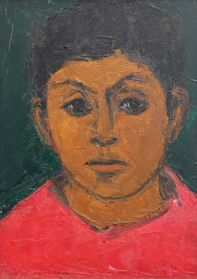 Unknown Portrait Painting - Portrait of Boy in Red
