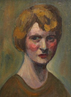 'Portrait of Earnest Woman' by Unknown Artist, French Oil Painting circa 1930s