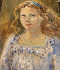 Portrait of Girl In Blue And White Dress by Bielecka/ Oil On Canvas