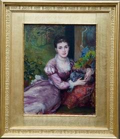 Portrait of Lady with Blue Persian Cat - British Pre-Raphaelite oil painting