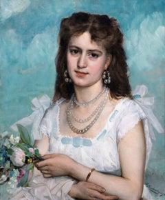 Portrait Of Madame De Winne, Dated 1875  by GUSTAVE KRABANNSKY (1852-1902)