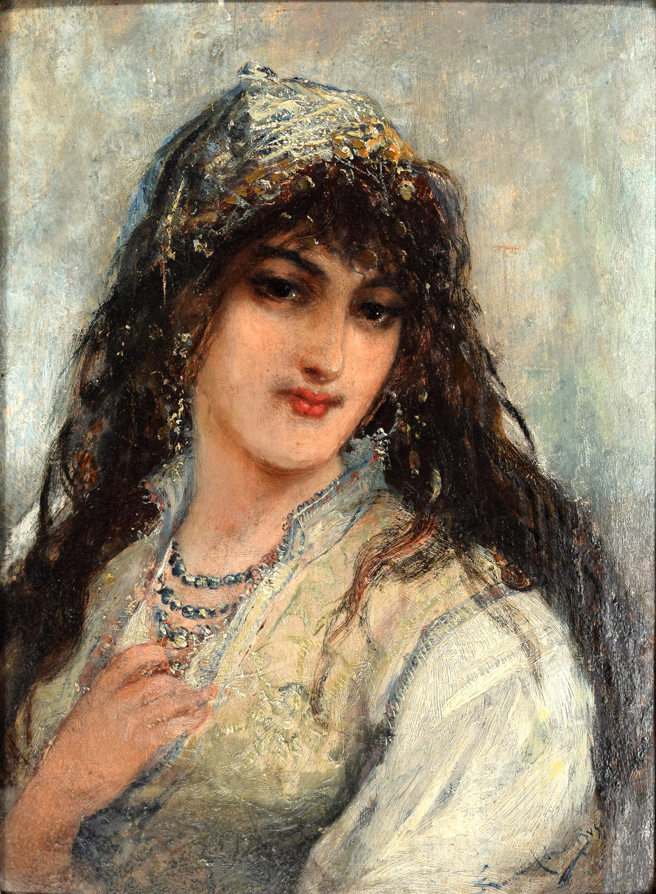Portrait of Oriental Woman by Joseph Emmanuel Van den Bussche - 1885