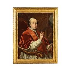 Portrait Of Pope Pius VI Oil On Canvas 18th Century