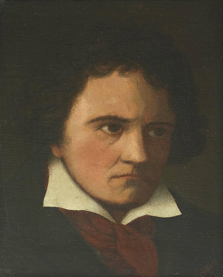 Portrait of the Composer Ludwig van Beethoven , signed with Monogram AG