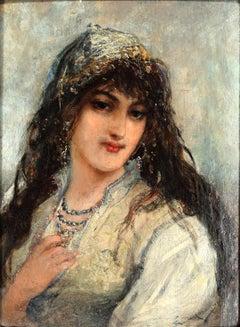 Portrait of Oriental Woman by Joseph Emmanuel Van den Bussche- 1885