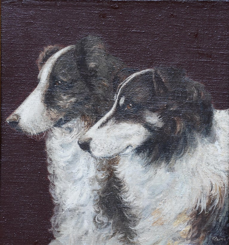 Portrait of Two Collie Dogs- British Edwardian dog art oil painting animals - Painting by Unknown