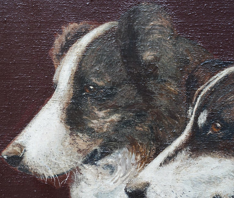 This British double portrait of two collie dogs is simply gorgeous. Painted circa 1910 it is indistinctly signed but may be by K Pearce. The composition is the head and shoulders of two black and white collies, both looking to the left with rapt