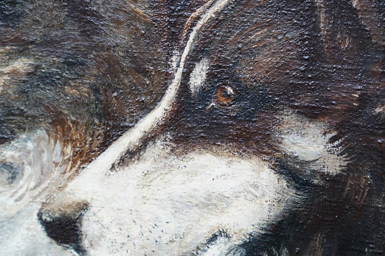 Portrait of Two Collie Dogs- British Edwardian dog art oil painting animals For Sale 2