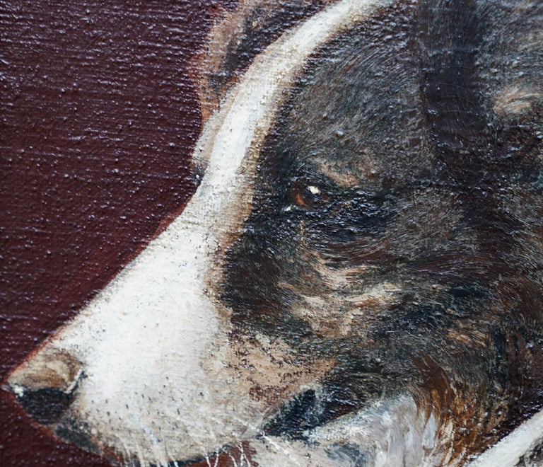 Portrait of Two Collie Dogs- British Edwardian dog art oil painting animals For Sale 3