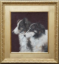 Portrait of Two Collie Dogs- British Edwardian dog art oil painting animals