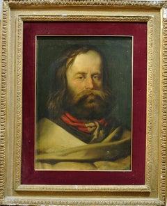 Portrait of Young Giuseppe Garibaldi - Original Oil on Canvas 19th Century