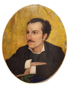 Portrait of Young Man with Mustache - 20th Century - Painting - Modern