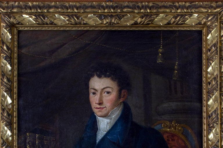 Portrait of Young Nobleman 1796 Oil on Canvas  - Black Figurative Painting by Unknown