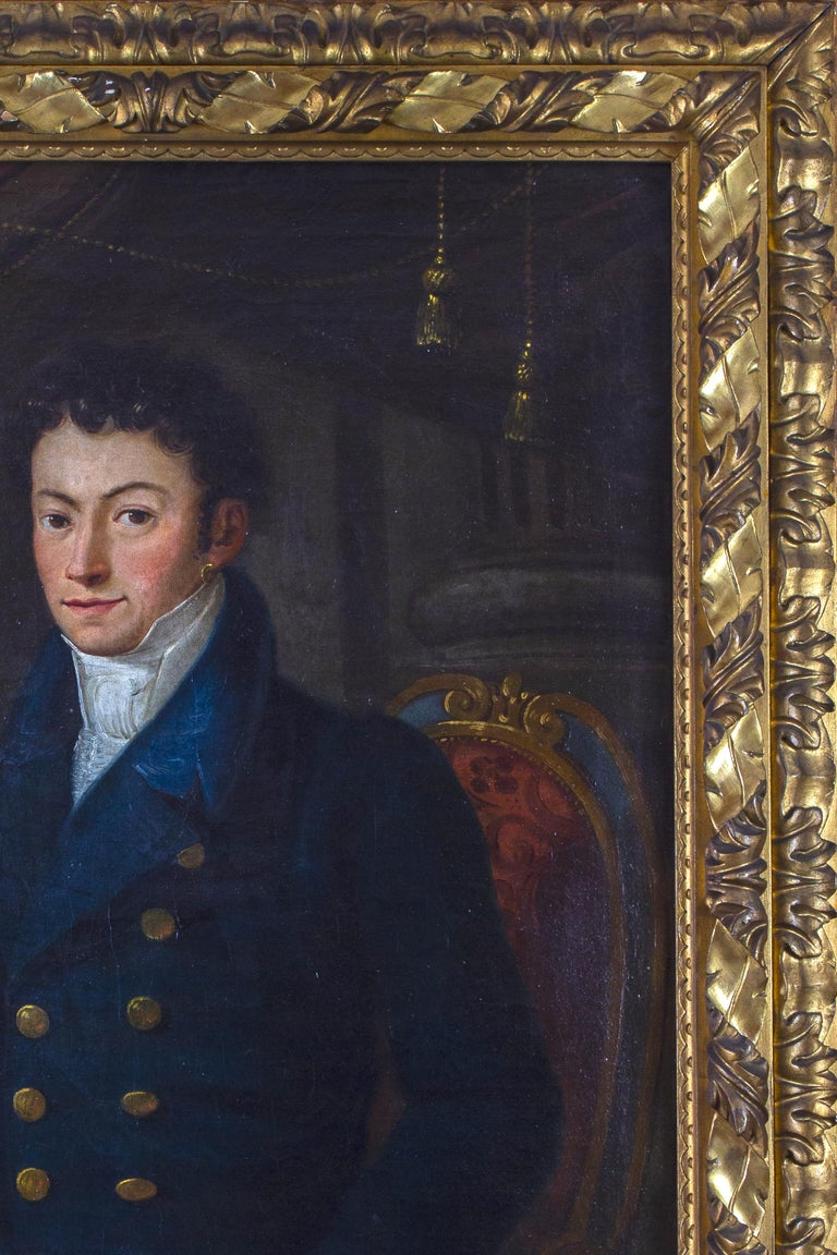 Very fine Portrait of the Nobleman,   Bernardini Savio Porro 1796 . Seated figure holding a letter , the  coat of arms seen on the right corner . Finely carved gilt- wood frame . Oil on Canvas, in  very good original condition.   Measurement  with