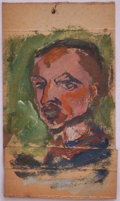 Portrait - Original Oil Drawing on Cardboard - 20th Century