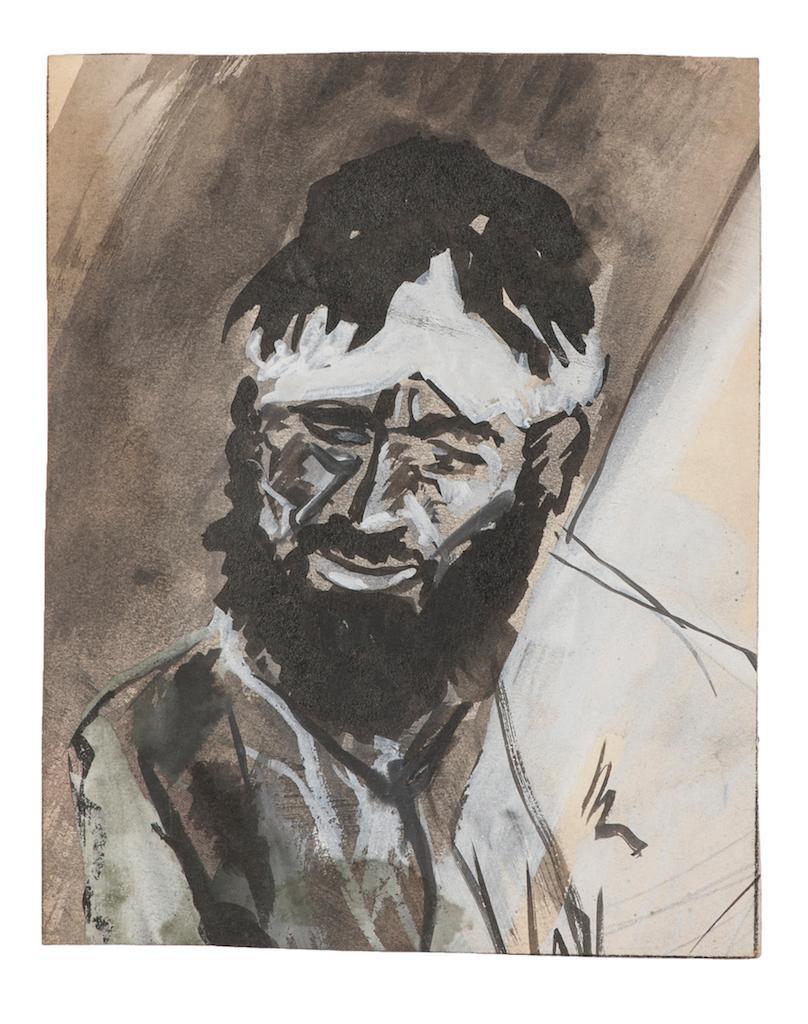 Portrait - Original Tempera on Paper - Mid-20th Century