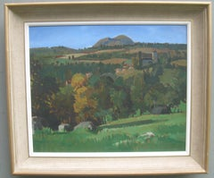 Post Impressionist: Hilly Provencial Landscape with Village  oil circa 1960's