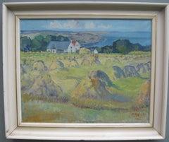 Post Impressionist:/ Modernist:  Field of Haystacks near the Coast oil c1950's