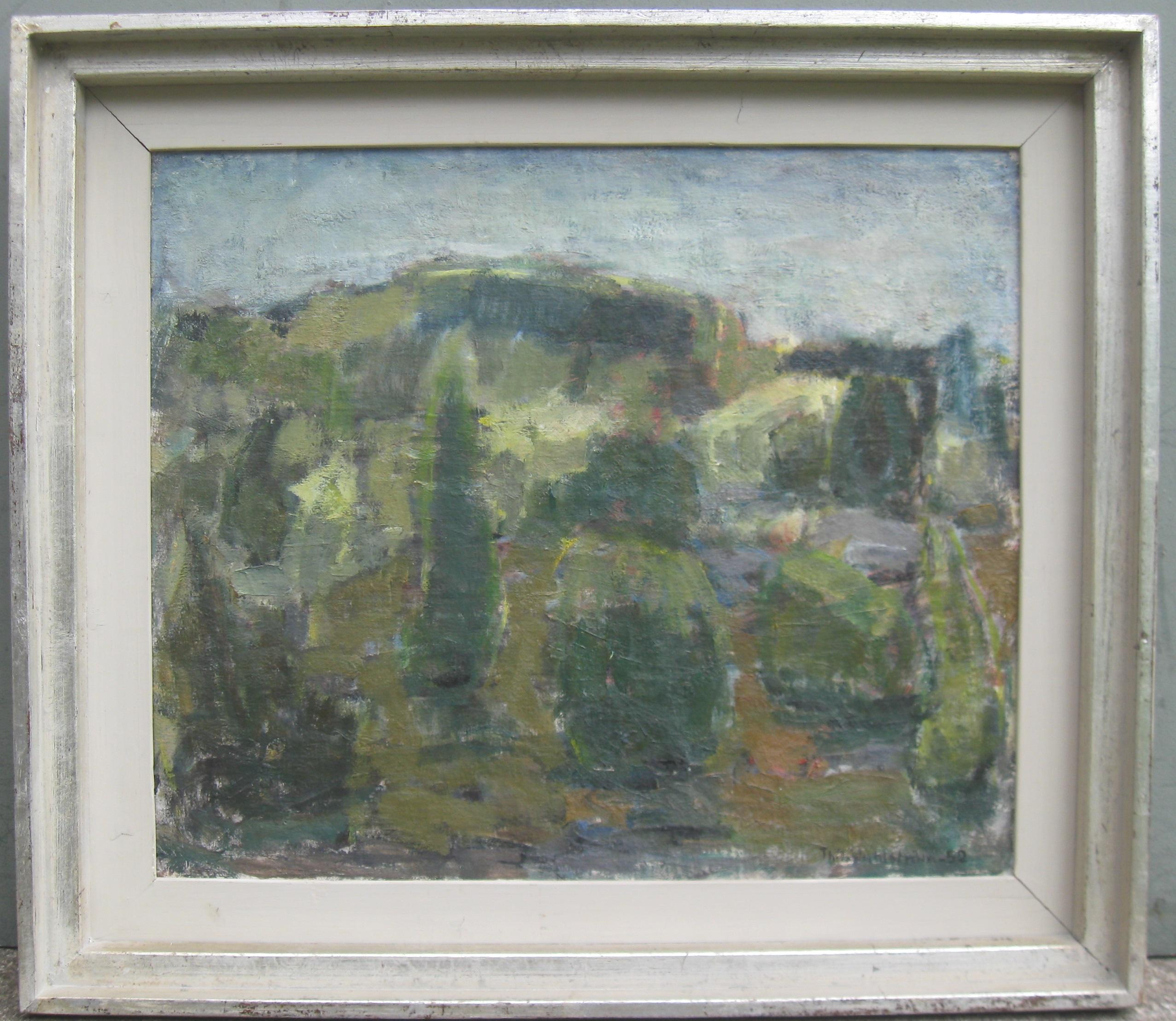 Post Impressionist/ Modernist; 'Hilly Landscape with Ruins' oil circa 1952