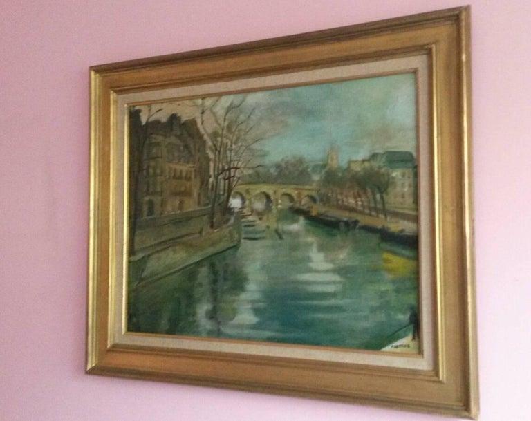 Post Impressionist Quai d'Anjou  landscape , Paris, 1930's For Sale 1