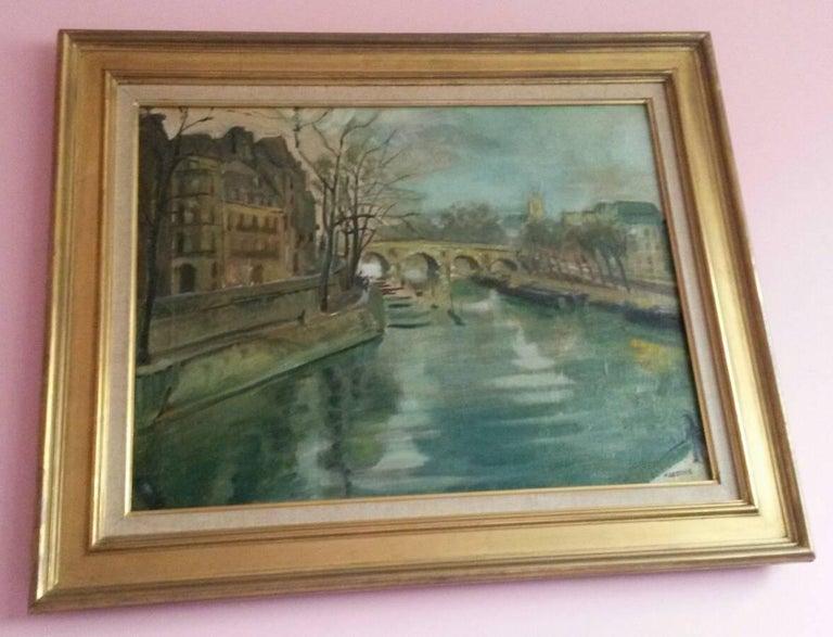 Post Impressionist Quai d'Anjou  landscape , Paris, 1930's For Sale 3