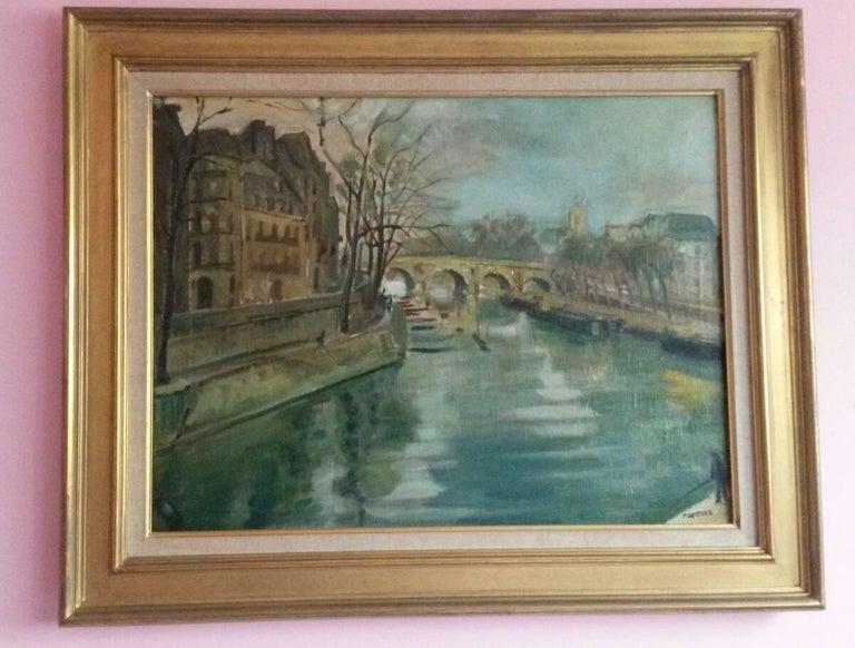 Post Impressionist Quai d'Anjou  landscape , Paris, 1930's For Sale 6