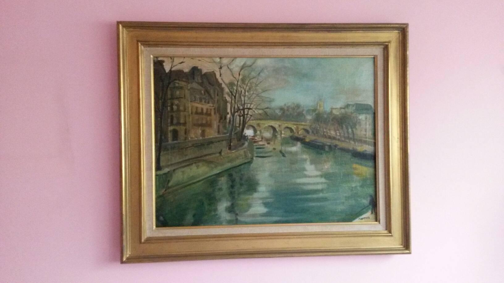 Post Impressionist Quai d'Anjou  landscape , Paris, 1930's