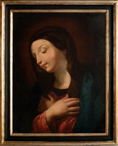 Praying Virgin Mary - Original Oil Painting on Canvas - 18th Century