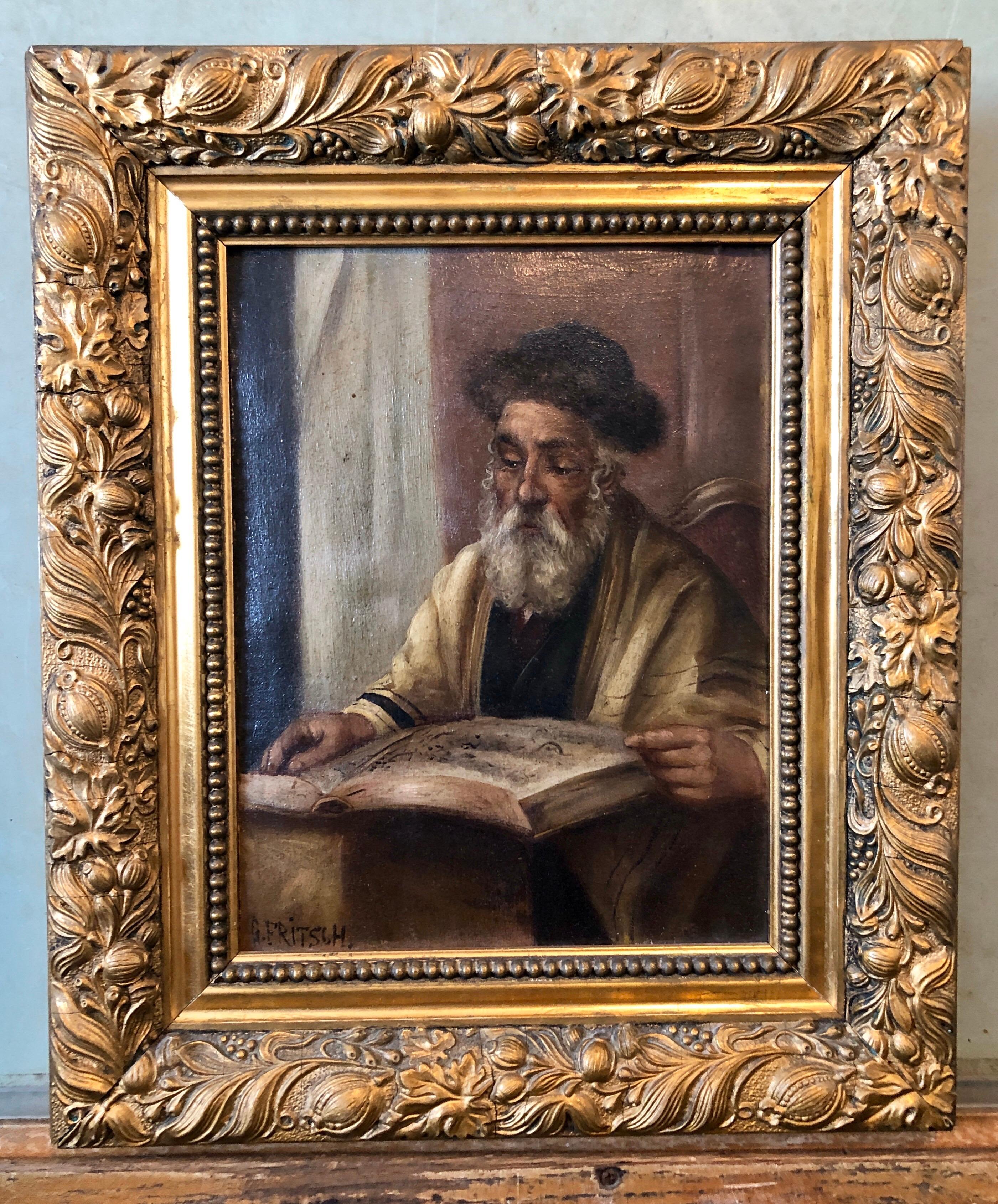 Pre War European Hasidic Rabbi Portrait German Judaica Oil Painting