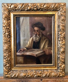Pre War European Hasidic Rabbi Portrait German Judaica Oil Painting