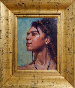 Proud, Figurative Realism Original Art Distressed Gold Frame Oil on Linen Board