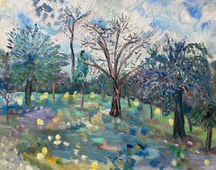 Provence Colorful Trees Landscape - French Original Oil Painting