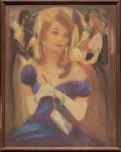 Pulp Art -- Woman in a Blue Dress with White Gloves (Two Sided)