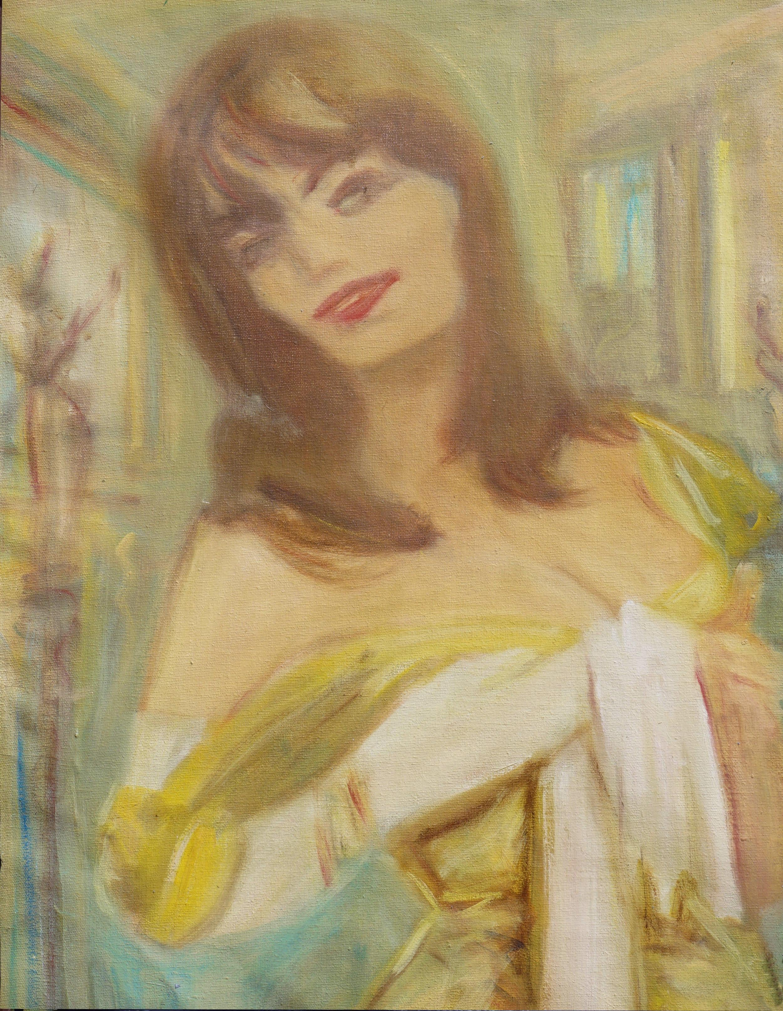 Woman in Yellow Evening Dress, Mid Century Modern Pulp Art Figurative Portrait
