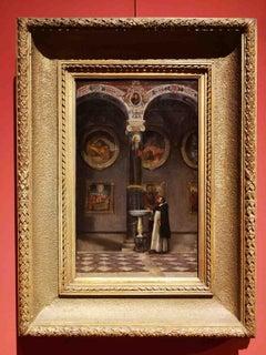 Purist Italian artist, Dominican friar in a church, 19th century, oil on canvas