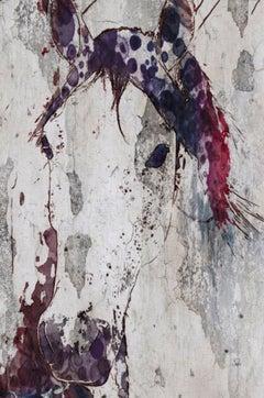 Purple Horse, Farmhouse Fine Art Hand Embellished Giclee on Canvas