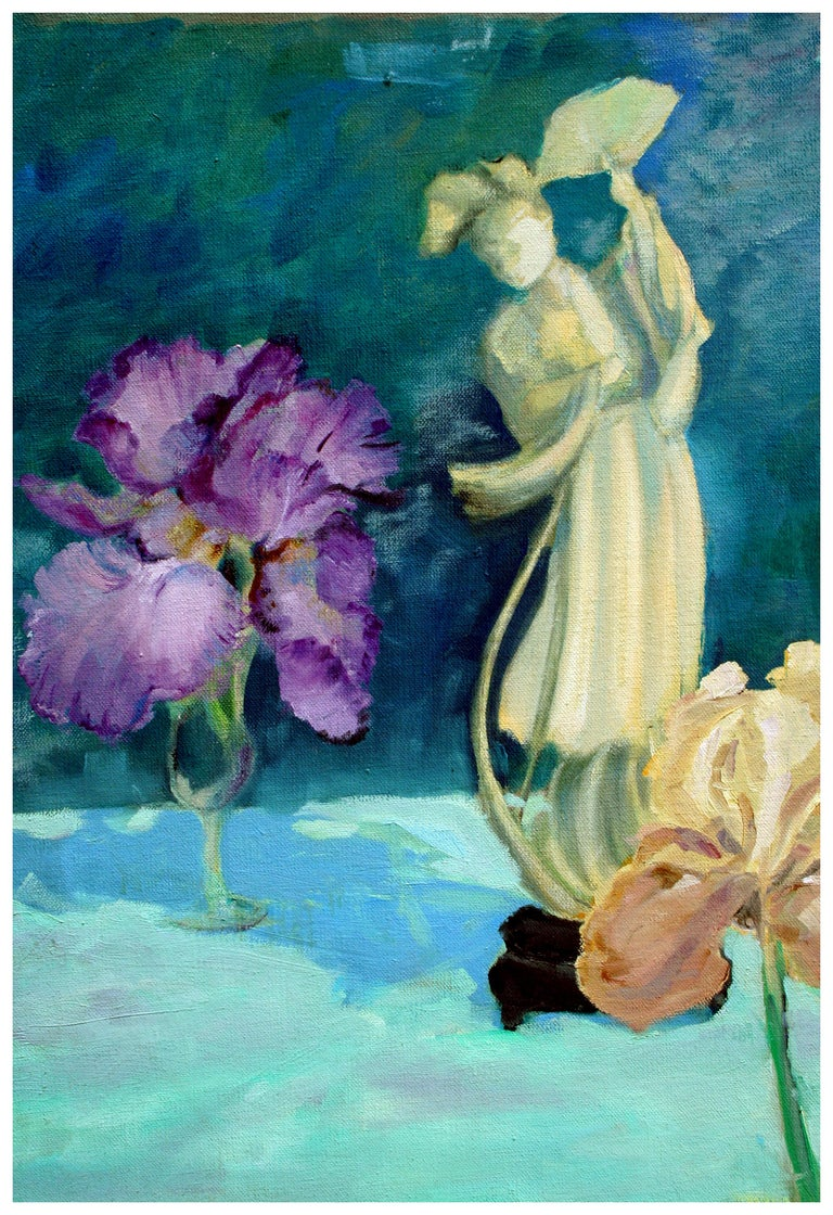 Quan Yin Statue and Bearded Irises Still Life - Painting by Unknown