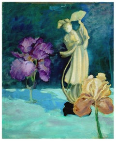 Quan Yin Statue and Bearded Irises Still Life