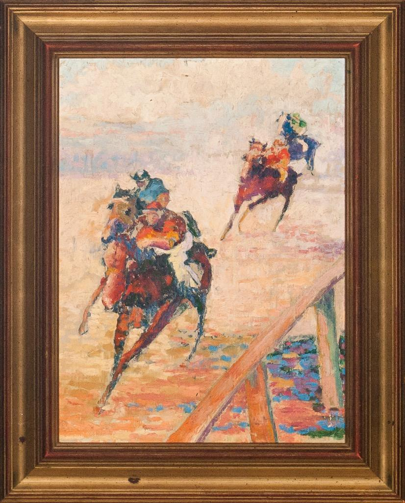 'Racehorses Turning For Home' circa 1940s Oil on Canvas
