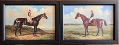 Racehorses with Jockeys Up - Pair of English Classic Racehorse Oil Paintings